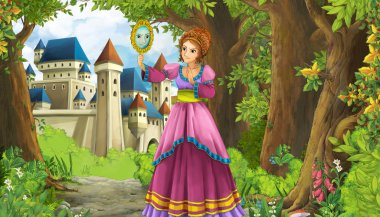 Cartoon nature scene with beautiful castle near the forest and princess - illustration for the children