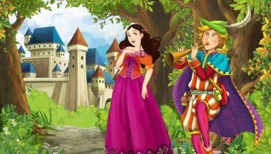 Cartoon nature scene with beautiful castle near the forest and p