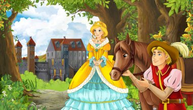 Cartoon nature scene with beautiful castle near the forest and princess