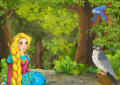 Photo cartoon summer scene with meadow in the forest with beautiful pr