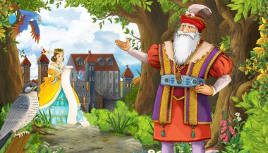 cartoon summer scene with meadow in the forest with beautiful pr