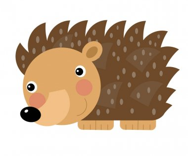 Cartoon scene with cheerful hedgehog on the white background illustration for children stock vector