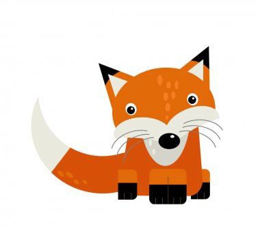 cartoon scene with wild animal fox on white background illustration