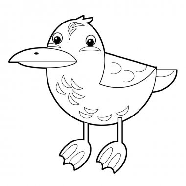 Cartoon animal bird flying - coloring page - illustration for the children stock vector