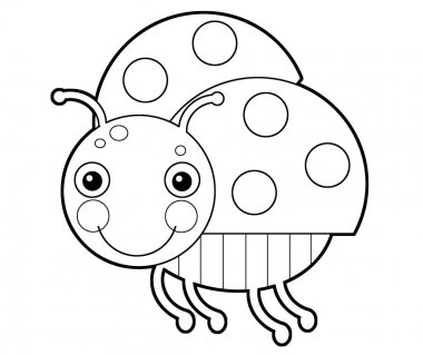 Cartoon animal insect ladybug on white background - coloring page - illustration for the children stock vector