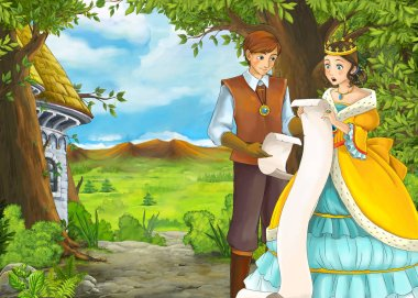 Cartoon nature scene with beautiful castle with prince and princess