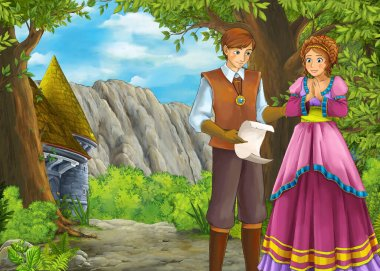Cartoon nature scene with beautiful castle with prince and princ