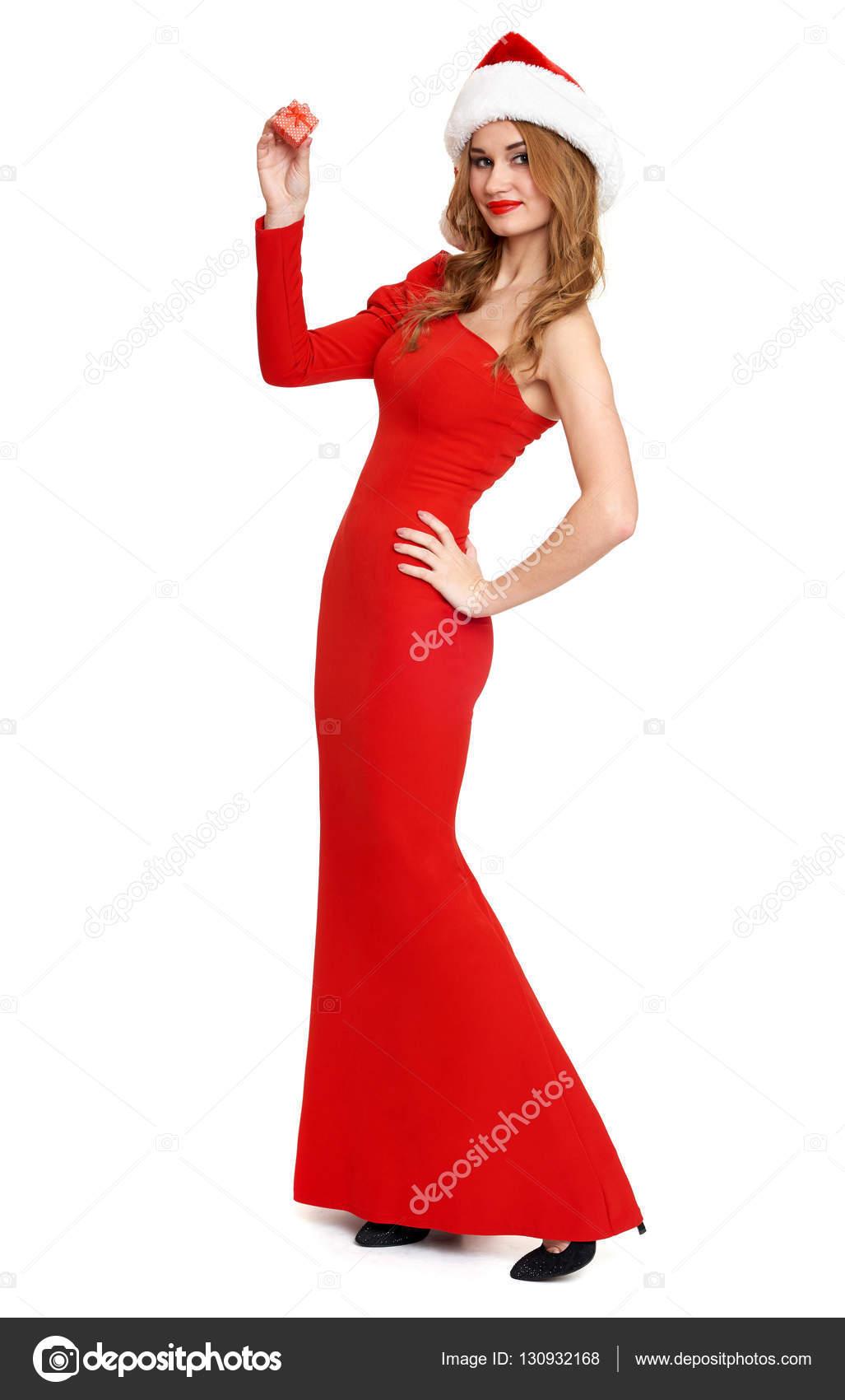 gyönyörű lány piros ruha és elszigetelt fehér background 48ae1a7557