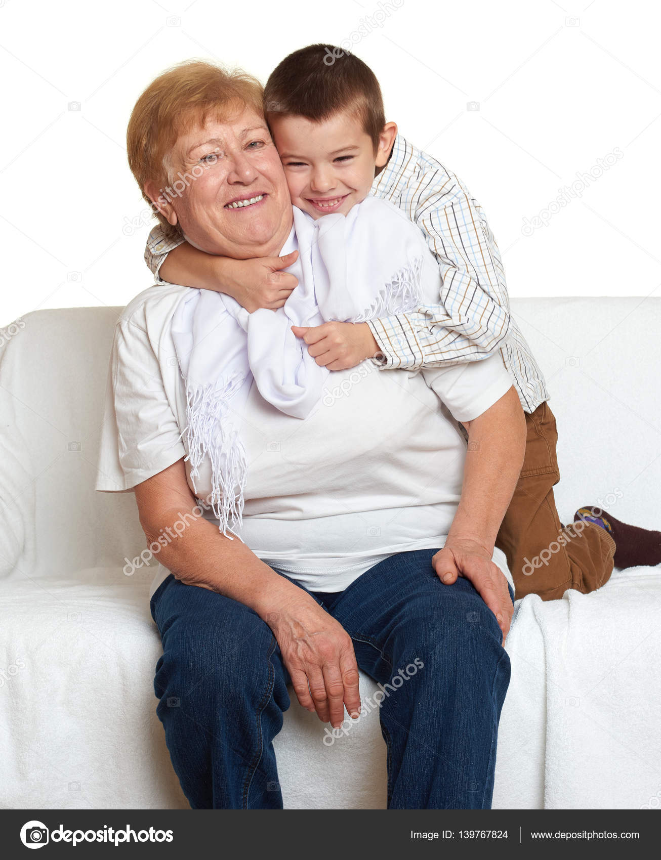 grandmother and grandchild family portrait on white background