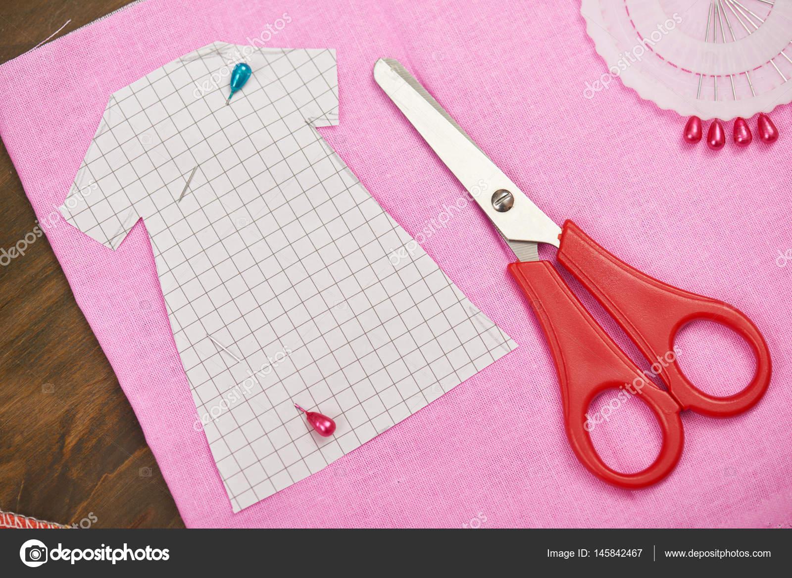 Kleidung, Muster, Nähen Zubehör Draufsicht, Näherin Arbeitsplatz und ...