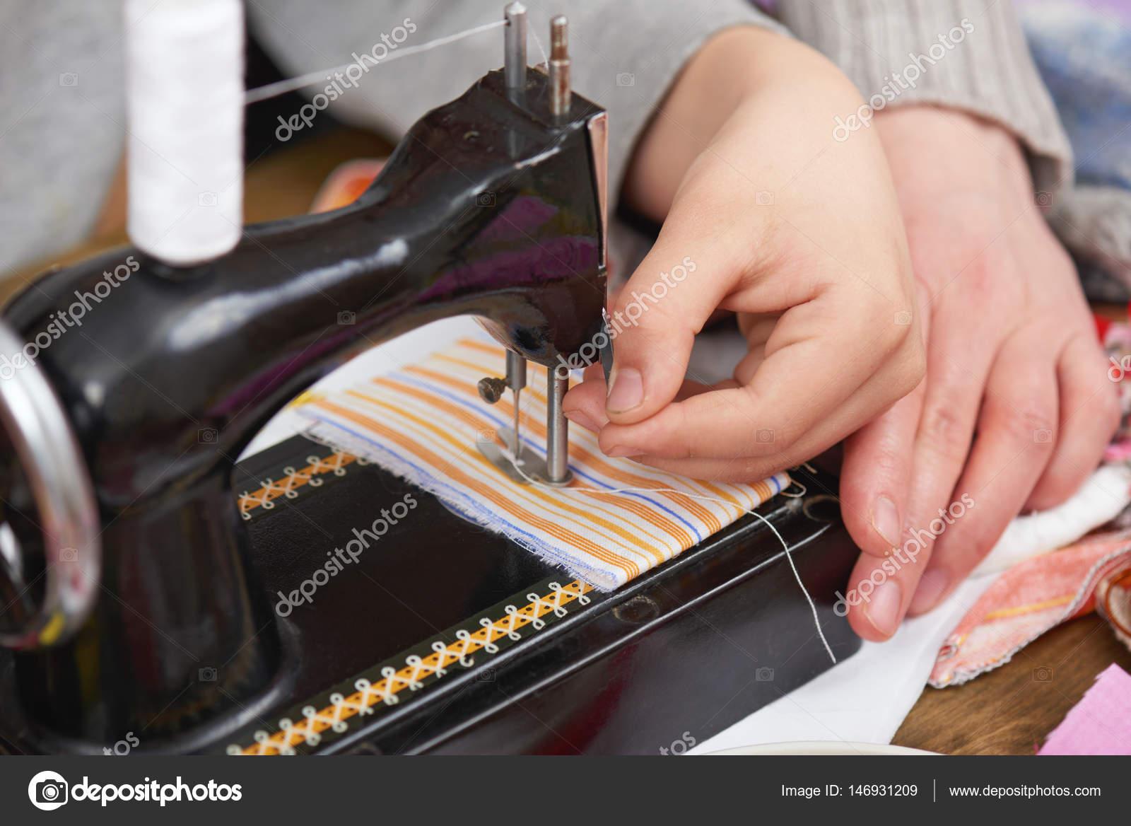 Mother teaching child boy sew, job training, handmade and handicraft  concept — Stock Photo