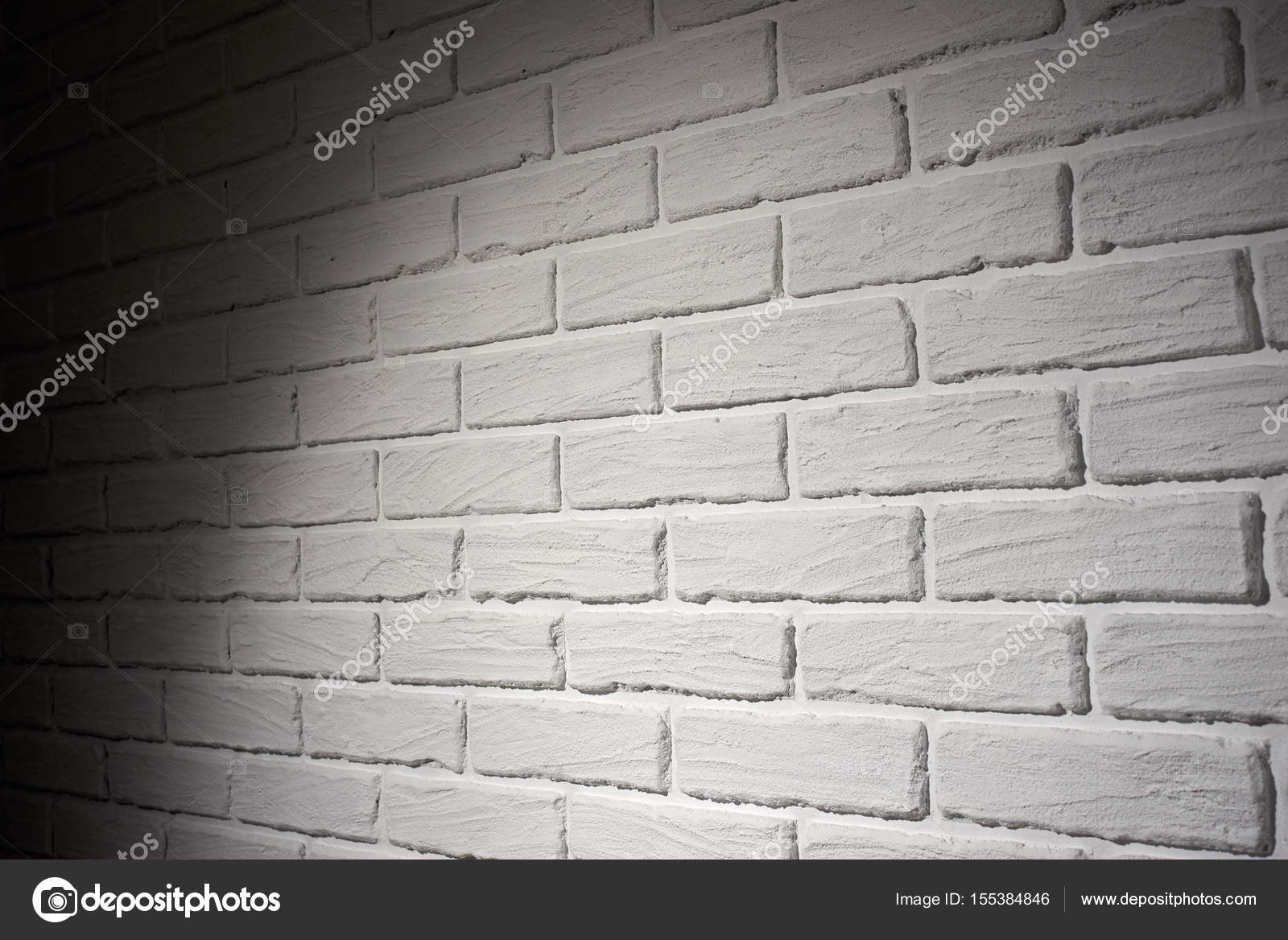 White Brick Wall With Light Effect And Shadow Abstract Background Photo Side View
