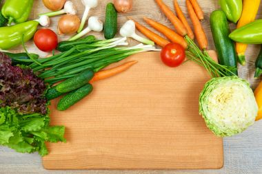 closeup of fresh fruits and vegetables on wooden table, healthy food concept, abstract object and background