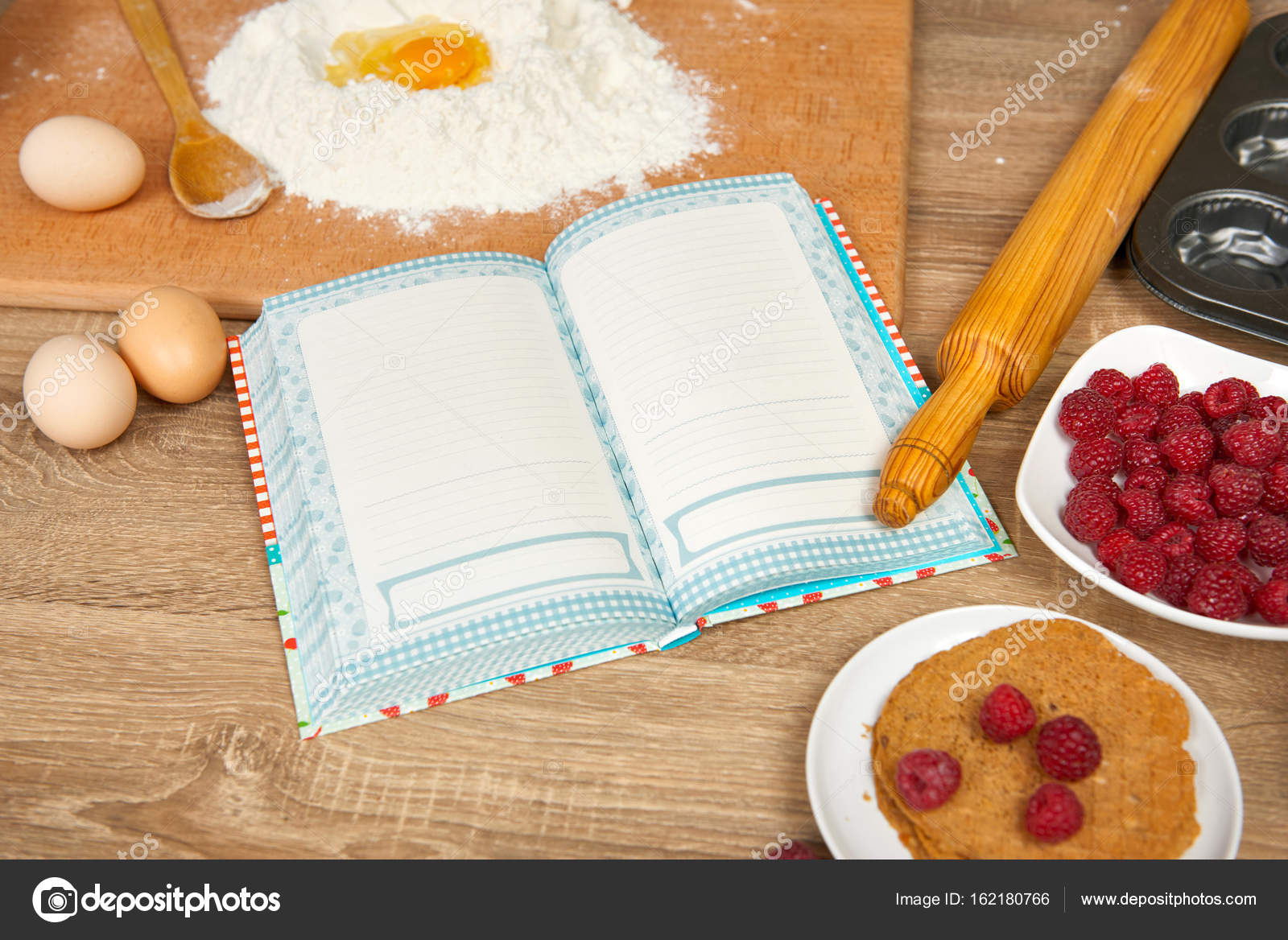 Blank cooking book and ingredients for baking cookies flour blank cooking book and ingredients for baking cookies flour broken egg cherry strawberry on wooden background raw food and kitchen utensils forumfinder Images