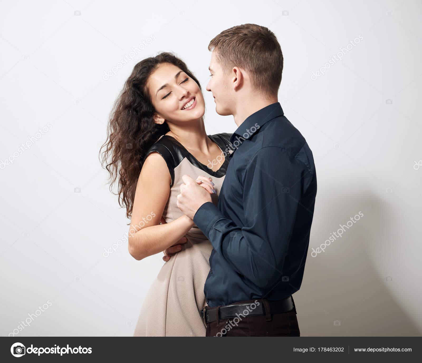 Romantic Couple Posing On White Background Stock Photo Soleg