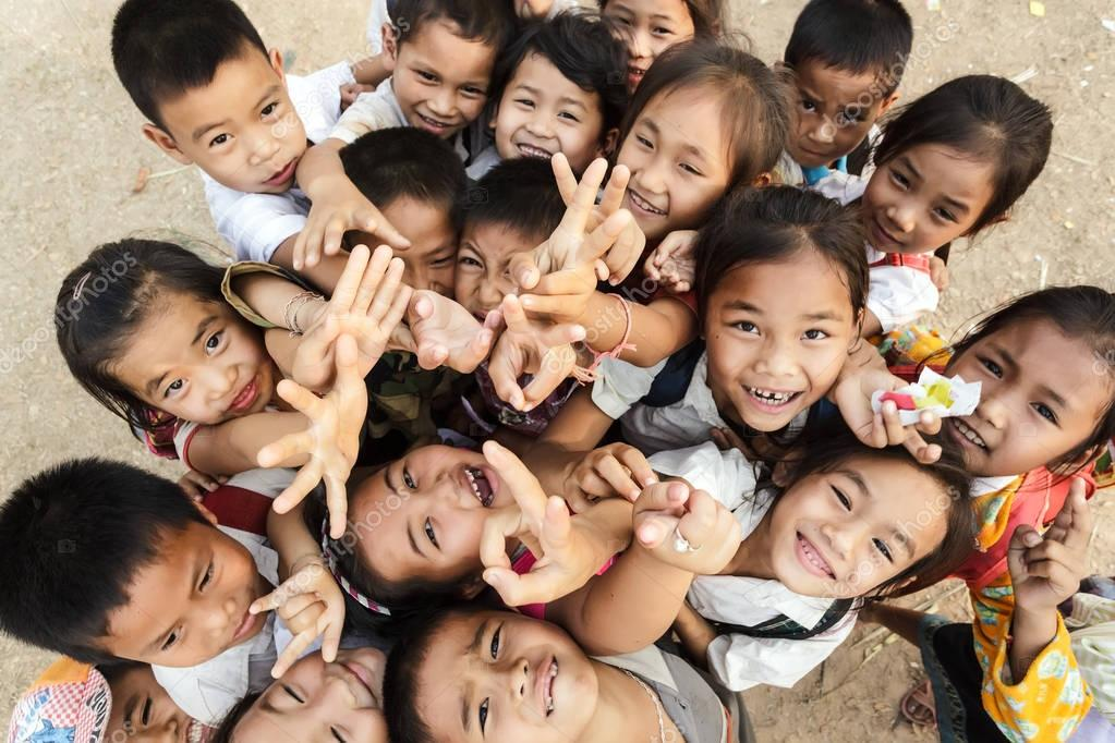 Kids group in Laos