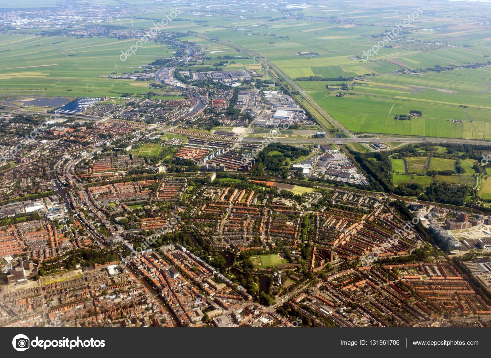 Amsterdam Aerial View From Plane Stock Photo