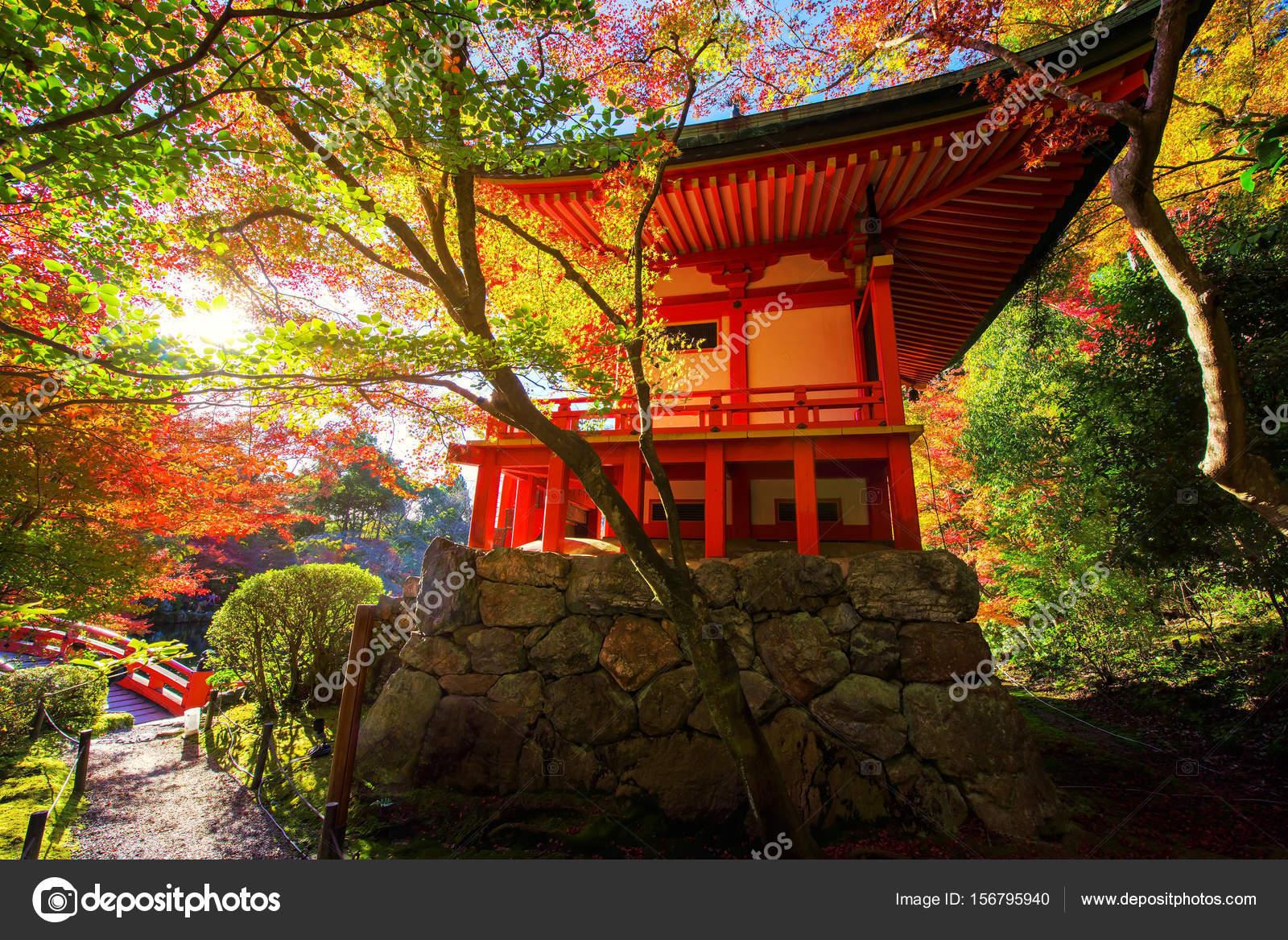 Daigoji temple in fall foliage garden — Stock Photo © blanscape ...