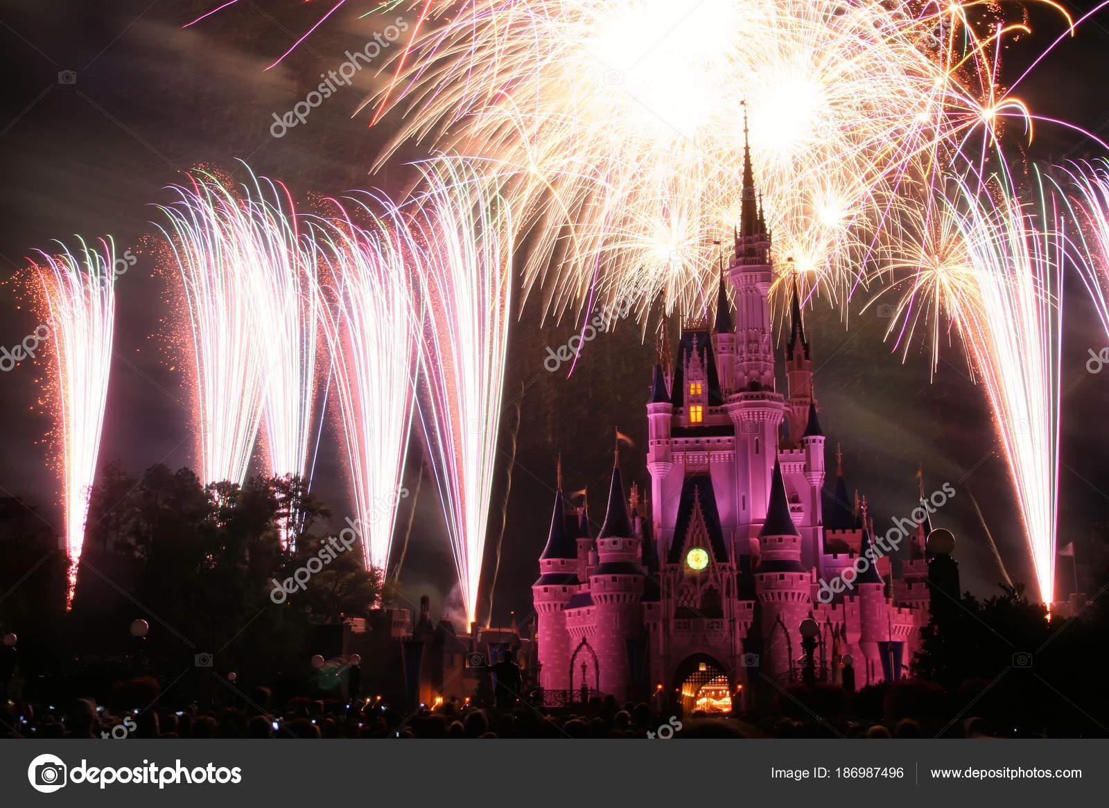 Disney World Castle Fireworks Orlando Stock Editorial Photo