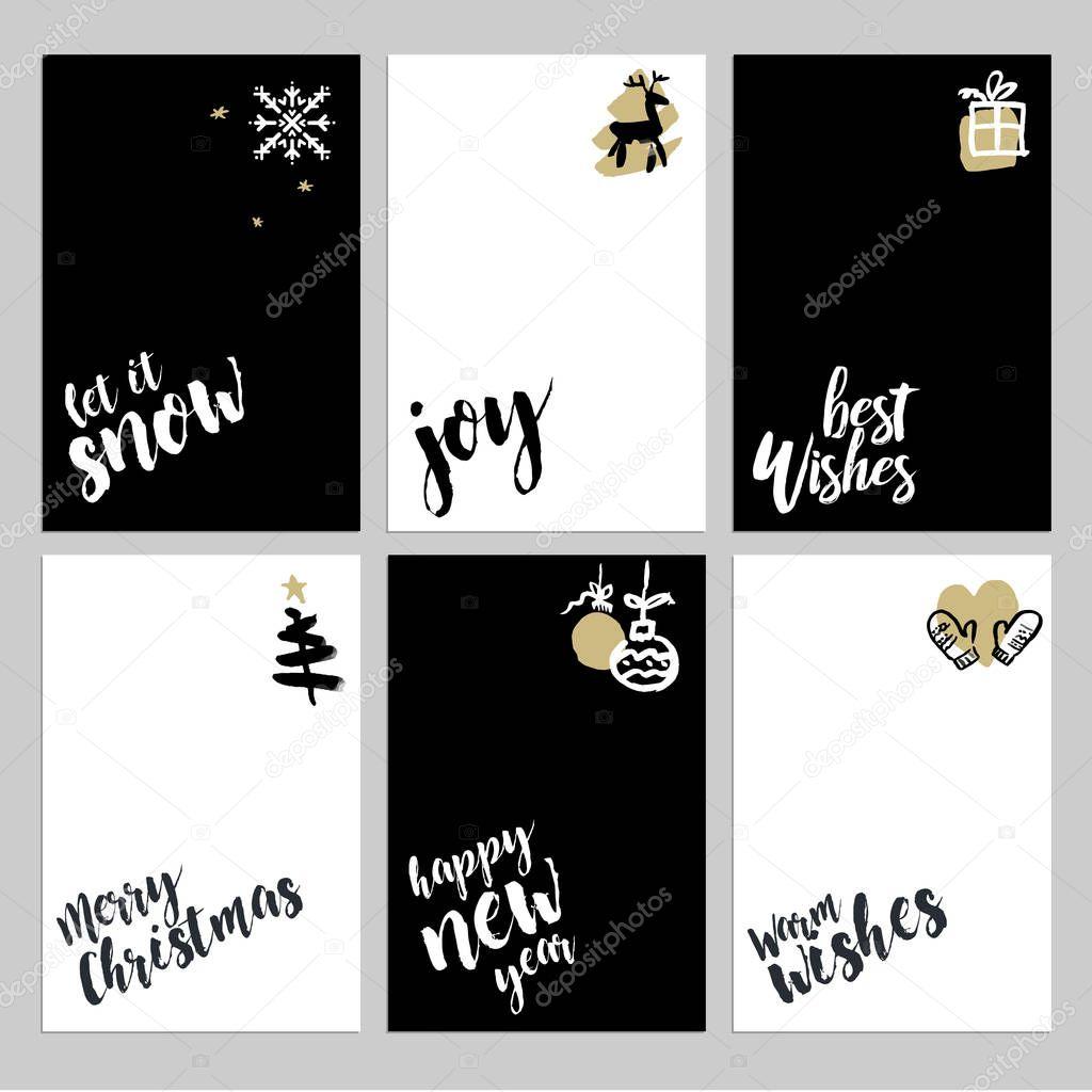 Colección de plantillas de tarjeta de felicitación Navidad y año ...
