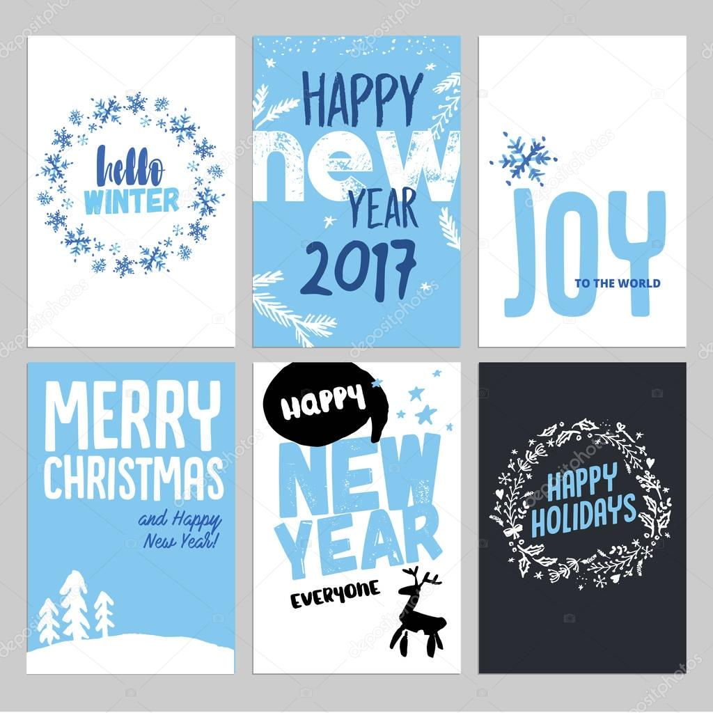 Christmas and New Year hand drawn greeting cards set