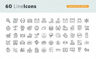 Set of premium concept icons for travel and hotel services