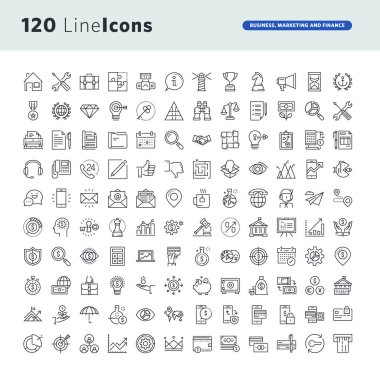 Set of premium concept icons for business, marketing and finance
