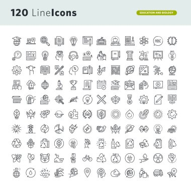 Set of premium concept icons for education and environment
