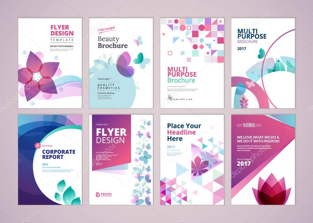 Beauty and wellness brochure cover design and flyer layout templates collection