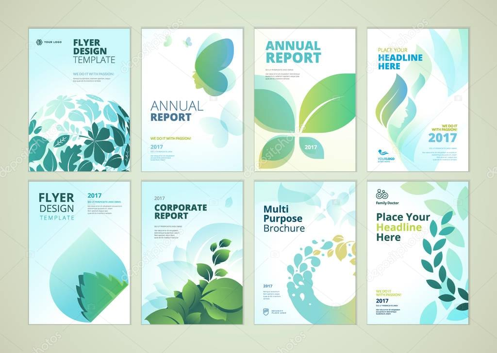 Nature and healthcare brochure cover design and flyer layout templates collection