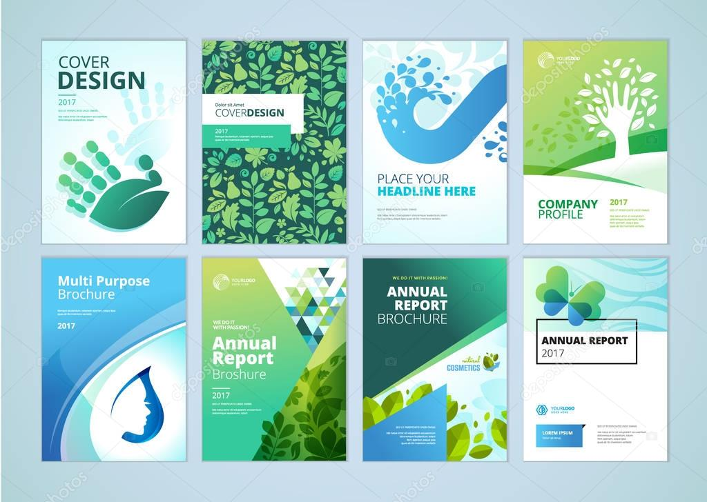 Natural and organic products brochure cover design and flyer layout templates collection