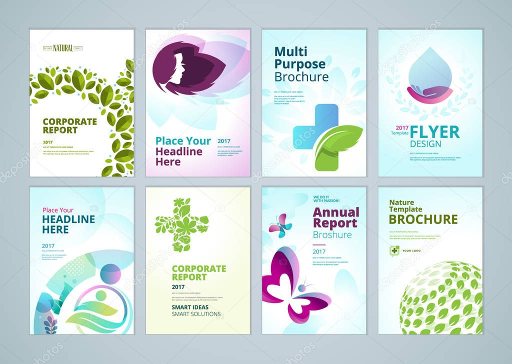 Healthcare and natural products brochure cover design and flyer layout templates collection