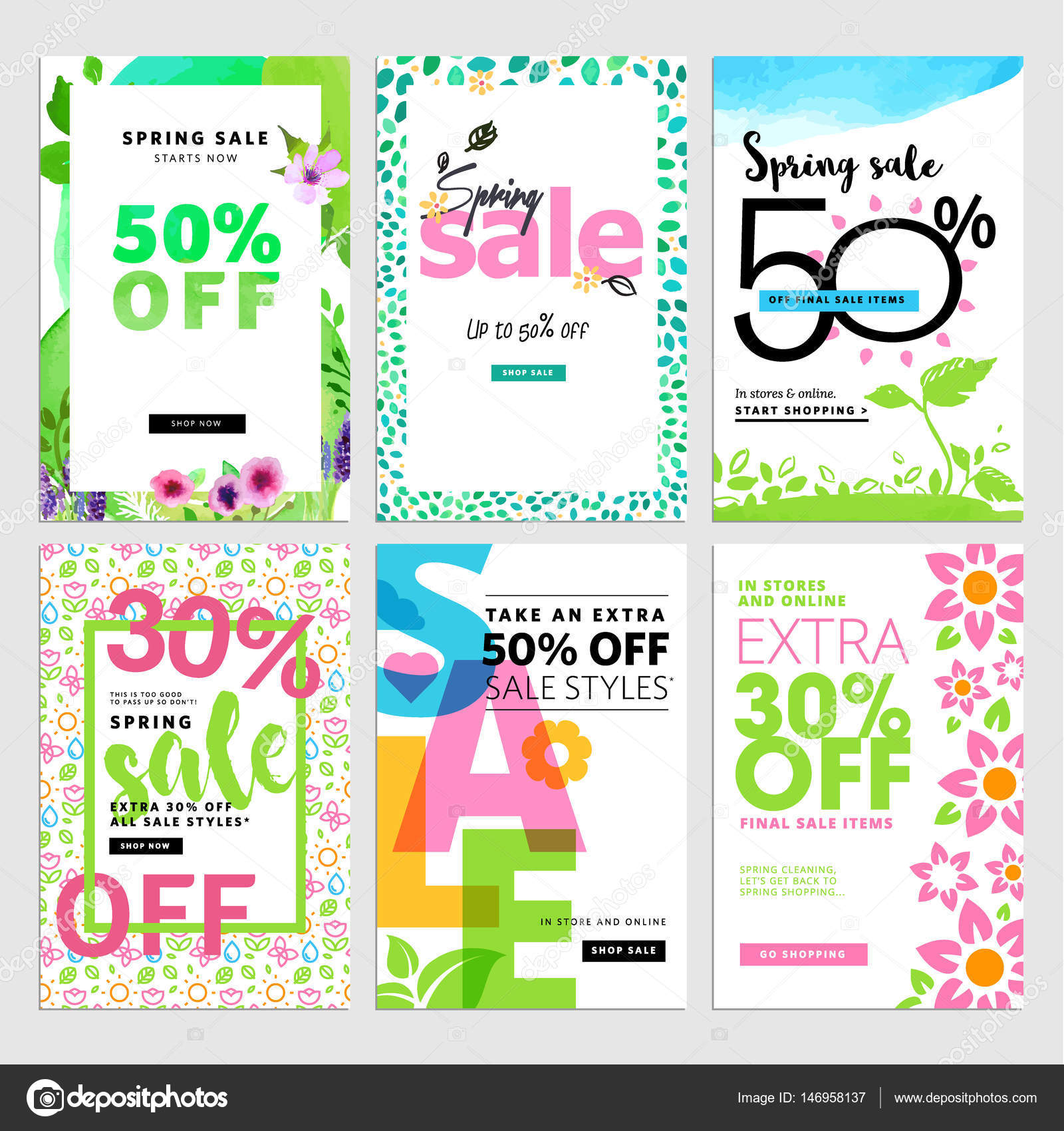eye catching spring sale banners set stock vector variant 146958137