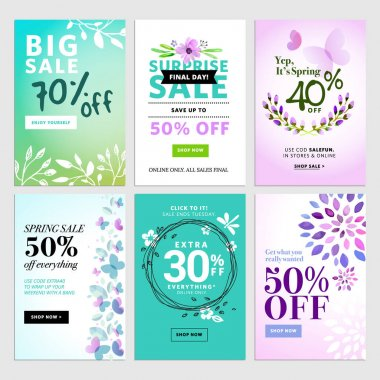 Set of mobile spring sale banners.
