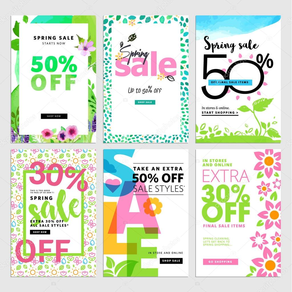 Eye catching spring sale banners set