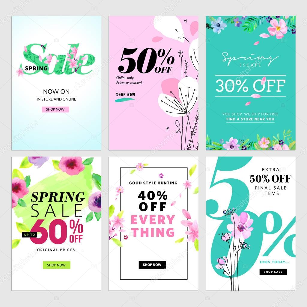 Mobile sale banners collection. Spring sale banners.