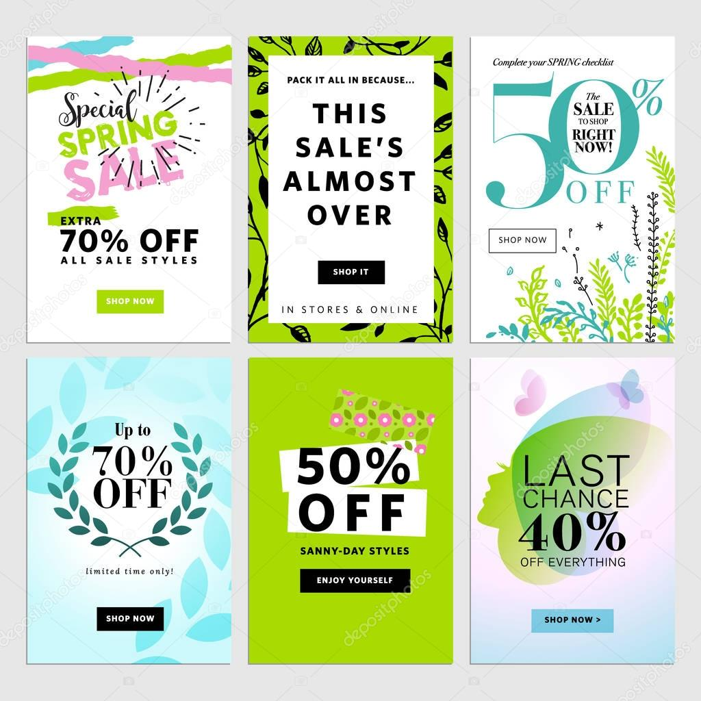 Spring social media sale banners.