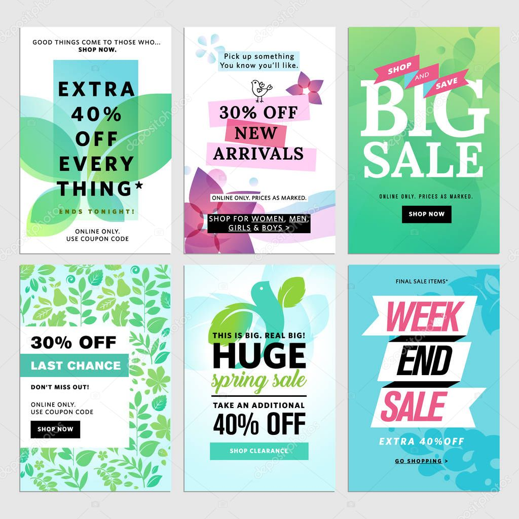 Spring mobile sale banners collection.