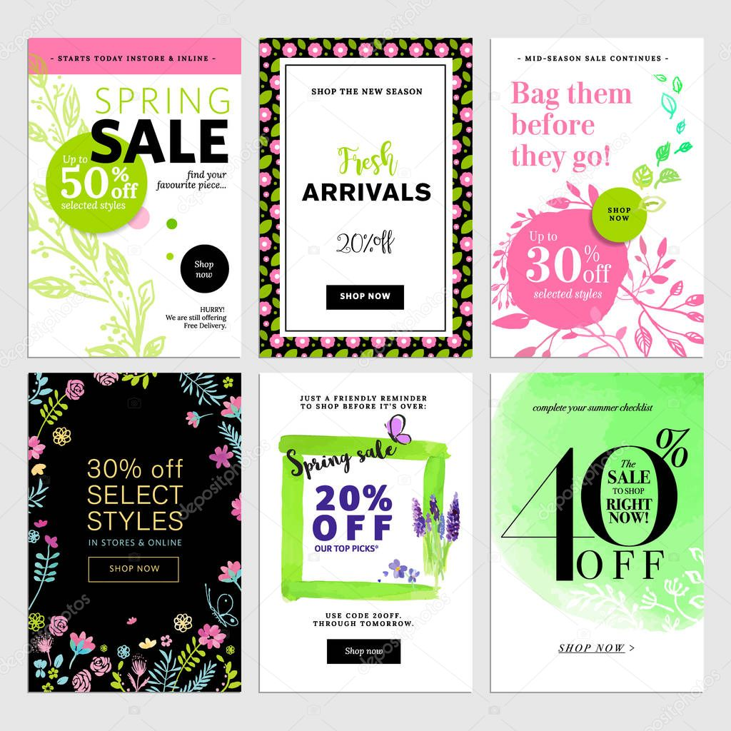 Mobile sale banner templates. Spring sale banners.