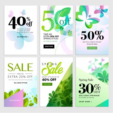 Set of mobile sale banners. Spring sale banners.