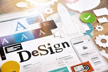 Design concept for graphic designers and design agencies services