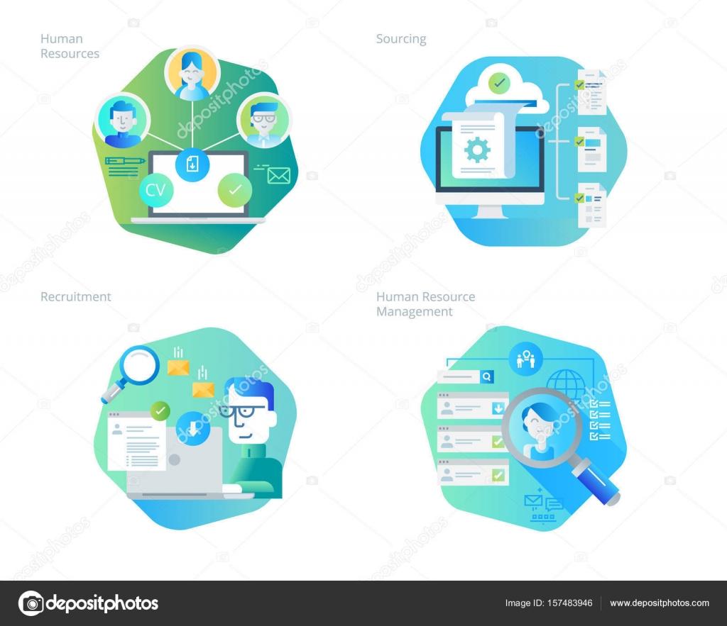Iconos de diseño de material para recursos humanos, reclutamiento ...