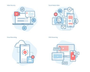 Set of concept line icons for social media video, cloud recording, VOD streaming, video security, online video streaming