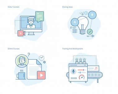 Set of concept line icons for education, video tutorials, online courses, training and development, sharing ideas
