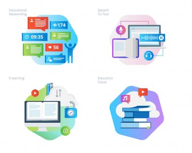 Material design icons set for education apps, networking, e-learning, education cloud