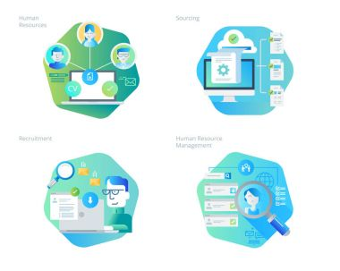 Material design icons set for human resources, recruitment, HR management, career