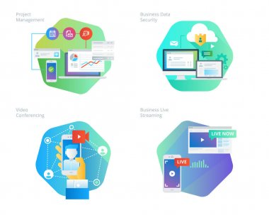 Material design icons set for project management, business data security, video conferencing, business live streaming