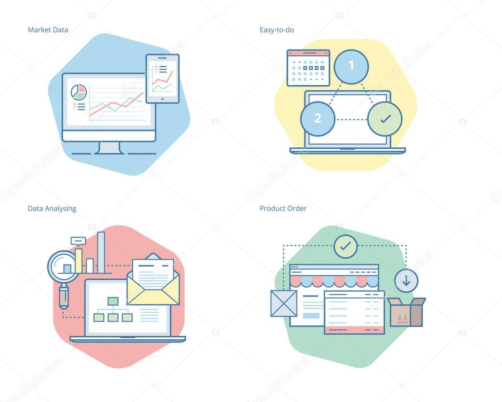 Set of concept line icons for business, management, marketing, e-commerce and shopping.