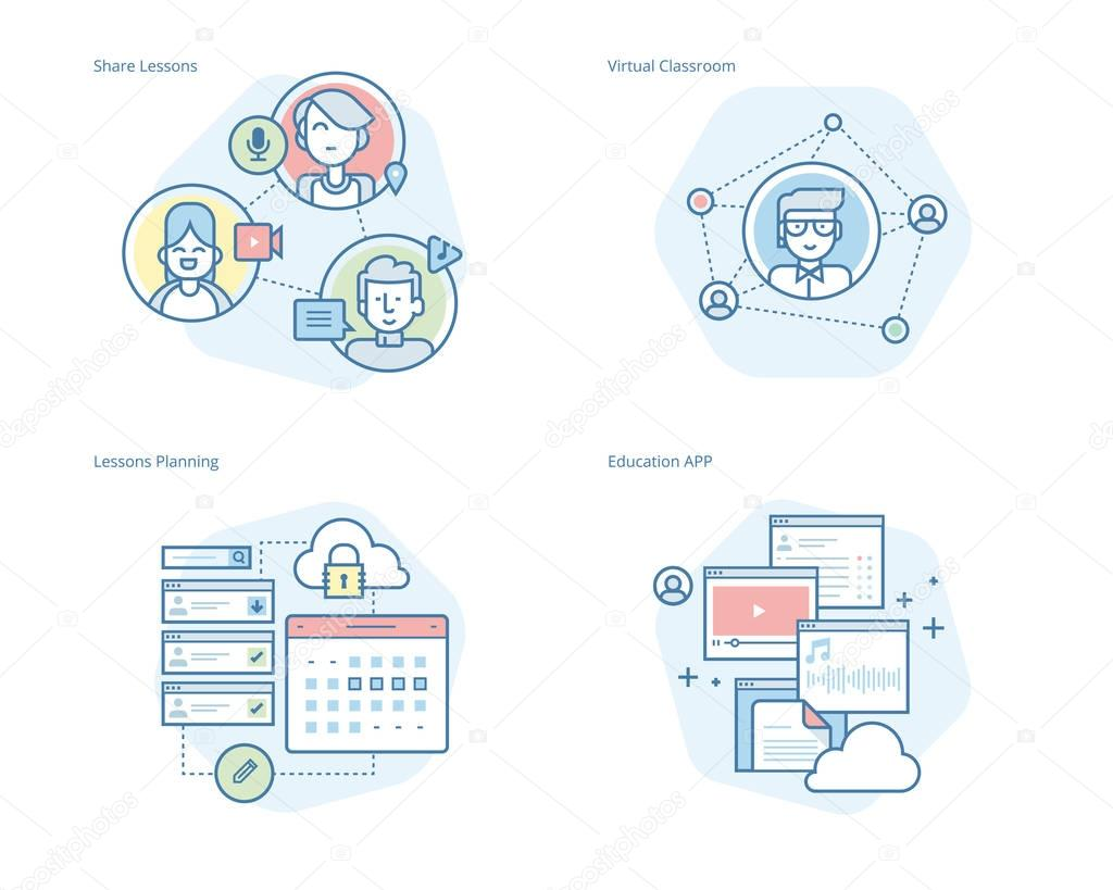 Set of concept line icons for online education, apps, virtual classroom, education network, lecture program for teachers