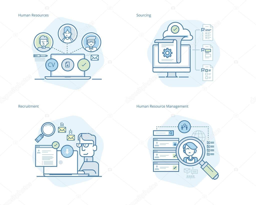 Set of concept line icons for human resources, recruitment, HR management, career